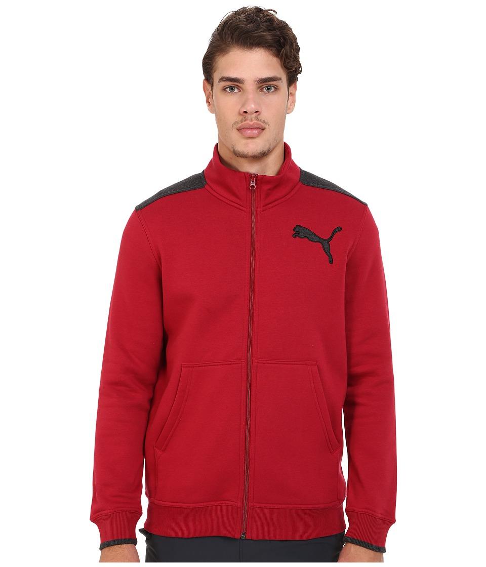 PUMA - Fleece Track Jacket (Rio Red/Dark Gray Heather) Men
