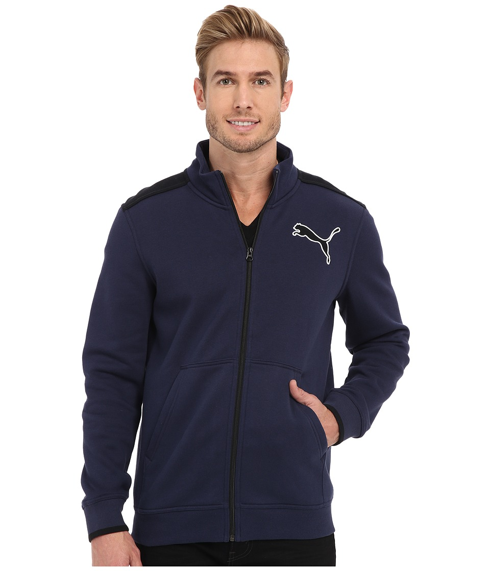 PUMA - Fleece Track Jacket (Peacoat Black) Men's Coat