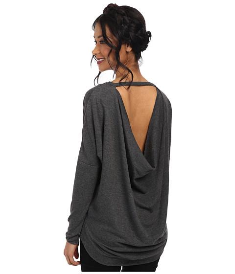Chaser - Drape Back Dolman Shirttail Top (Black) Women
