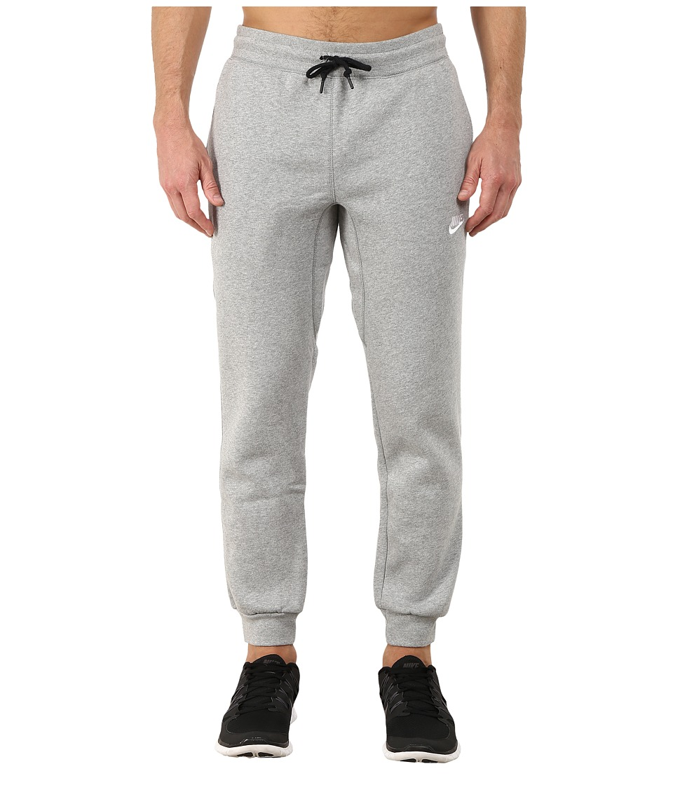 Nike - AW77 Cuff Fleece Pants (Dark Grey Heather/White) Men's Casual Pants