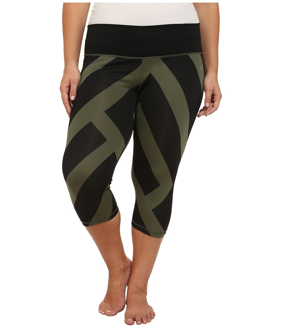 adidas - Performer Mid-Rise 3/4 Tights - Greater Than Bold Print (Base Green/Black Print/Matte Silver) Women's Workout plus size,  plus size fashion plus size appare