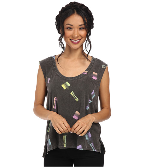 Chaser - Boxy Sleeves Tee w/ Side Slits (Vintage Black) Women's Sleeveless