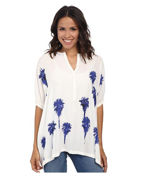 Karen Kane - Baby Placket Palms Tee (Off White) Women's T Shirt