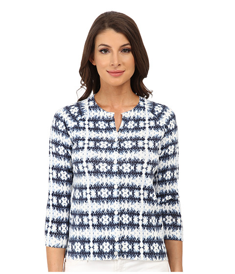 Pendleton - Boardwalk Print Cardigan (Indigo Batik Print) Women's Sweater