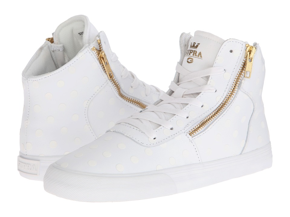Supra - Cuttler (White Leather/Tonal Polka Dots) Women's Skate Shoes