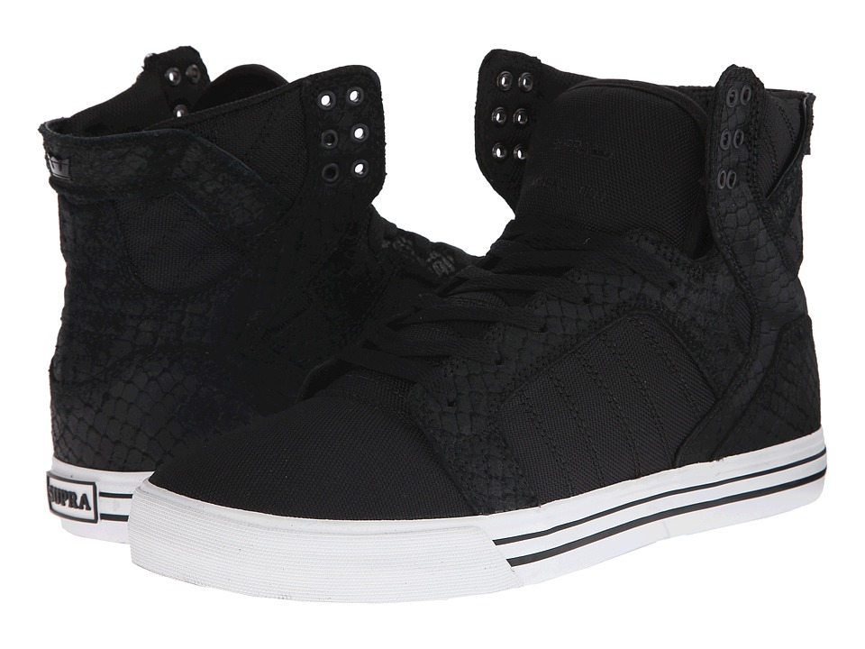 Supra - Skytop (Black Snakeskin/Embossed Suede) Men's Skate Shoes