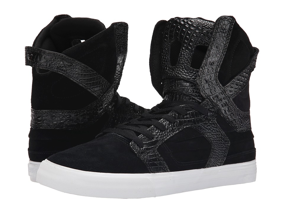 Supra - Skytop II (Black Suede/Crocodile Embossed Action Leather) Men's Skate Shoes