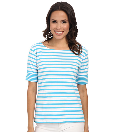 Pendleton - Double Stripe Rib Tee (White/Carolina Blue Stripe) Women's T Shirt
