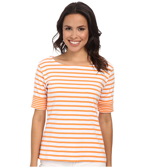 Pendleton - Double Stripe Rib Tee (White/Orange Peel Stripe) Women's T Shirt