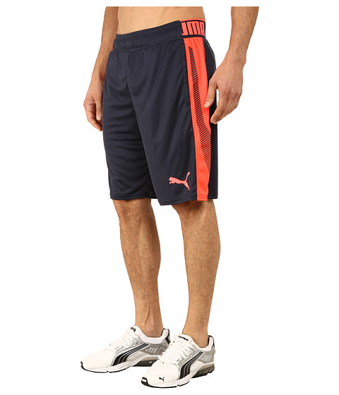 PUMA - Tilted Formstripe Shorts (Total Eclipse/Fiery Coral) Men