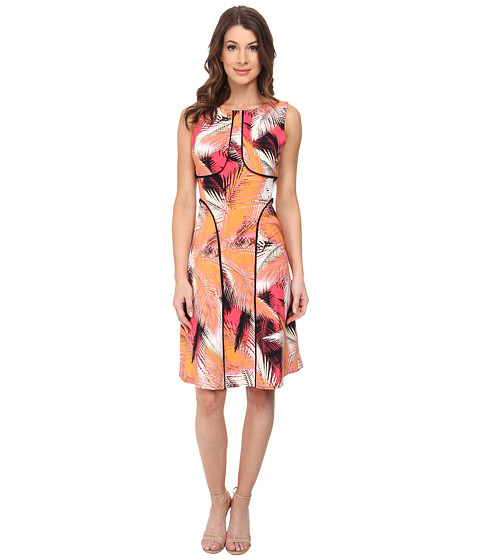 London Times - Solid Piping Fit and Flare Dress (Orange) Women