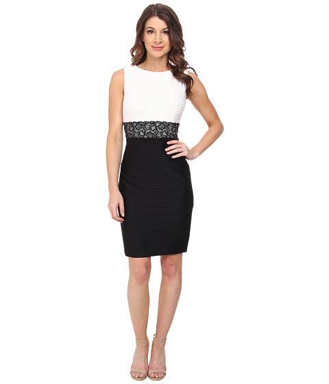 London Times - 2fer Lace Waist Sheath Dress (White/Black) Women's Dress