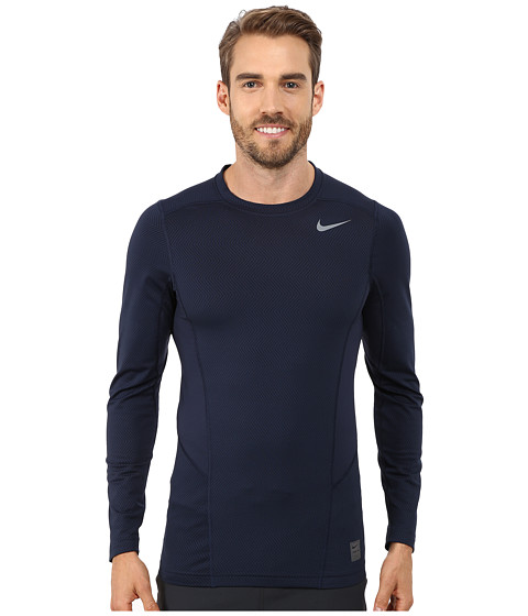 Nike - Hyperwarm Lite Fitted L/S Crew (Obsidian/Cool Grey/Cool Grey) Men's Long Sleeve Pullover