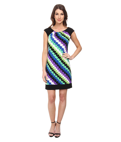 London Times - Cap Sleeve Black Side Border Shift Dress (Blue Multi) Women