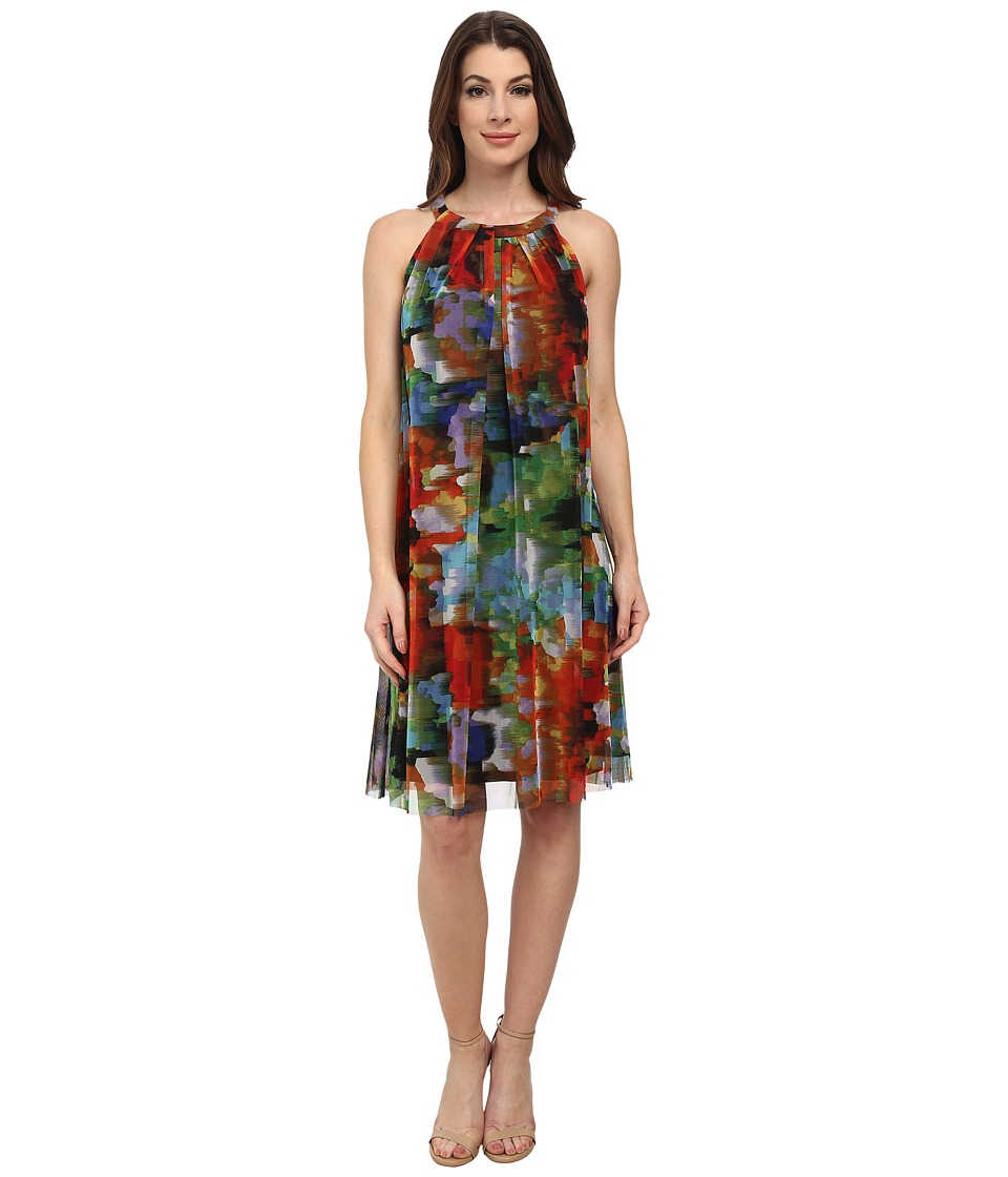 London Times Printed Mesh Halter Dress (Multi) Women