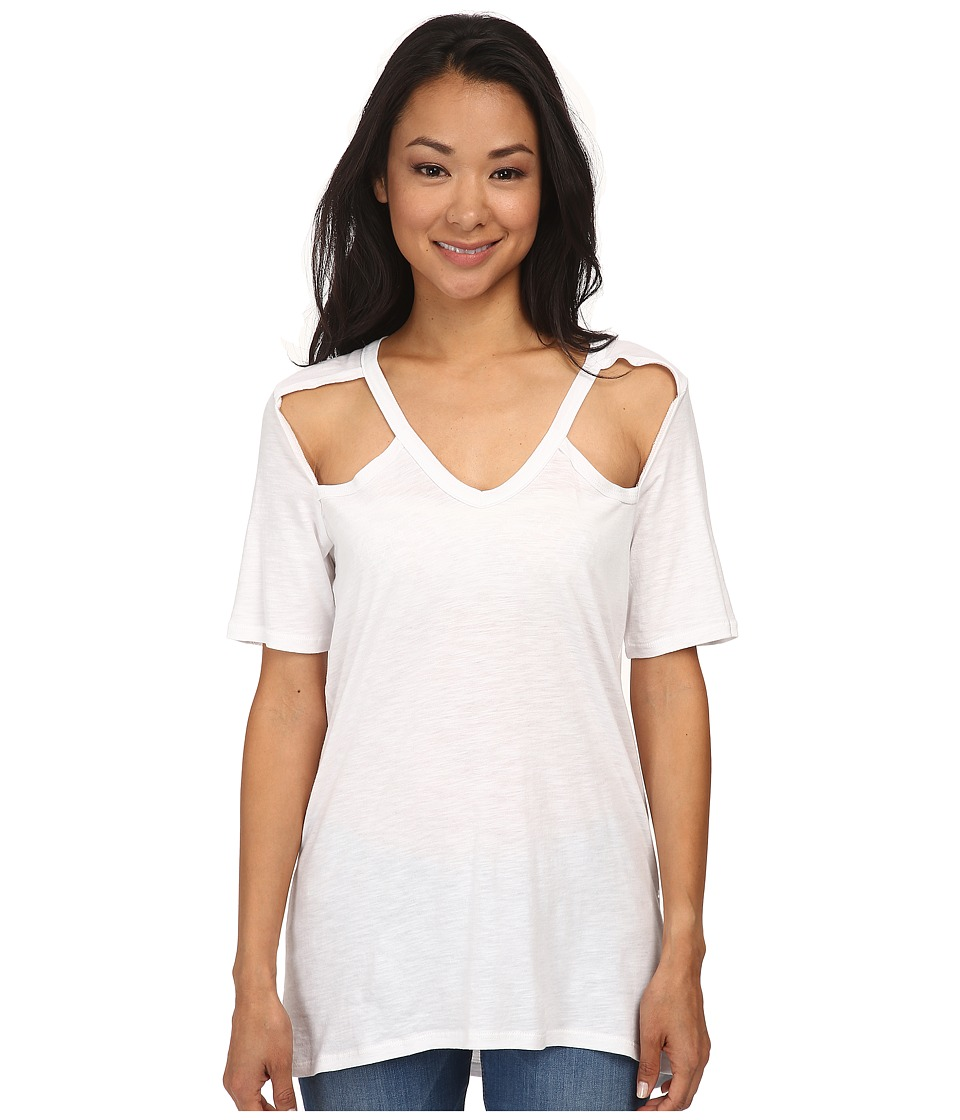 Chaser - Deep V Open Shoulder Vents Short Sleeve Tee (White) Women