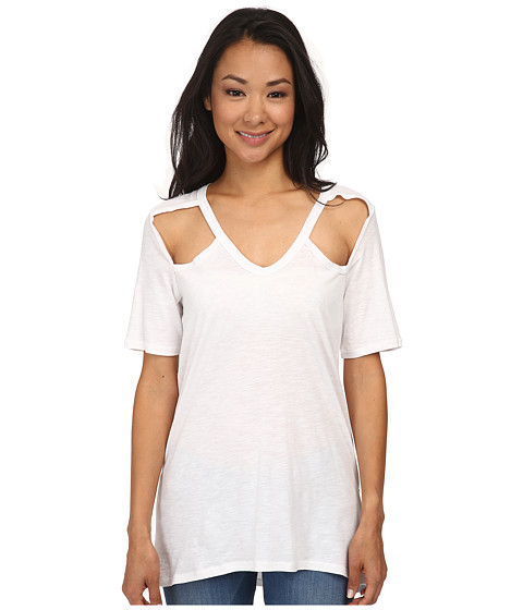 Chaser - Deep V Open Shoulder Vents Short Sleeve Tee (White) Women's T Shirt