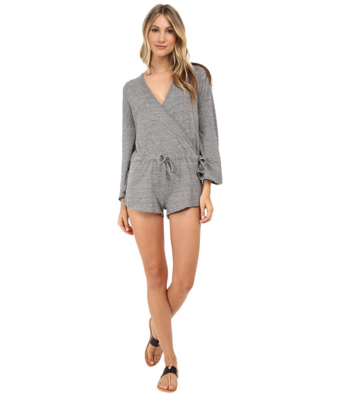 Chaser - Surplice Jumper Triblend Bell Sleeve (Streaky Grey) Women's Jumpsuit & Rompers One Piece