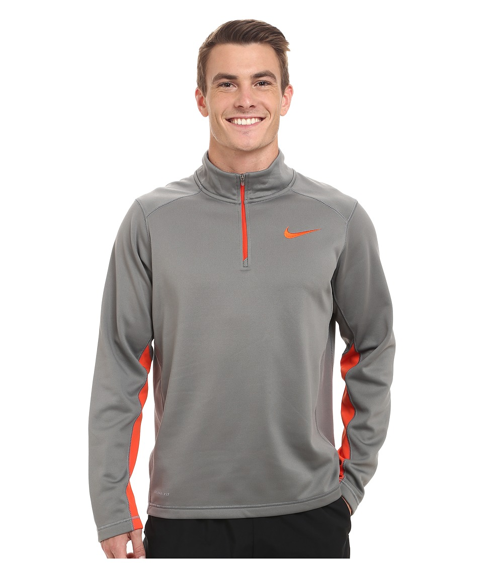 Nike - KO 1/4 Zip Top (Tumbled Grey/Team Orange/Team Orange) Men's Workout
