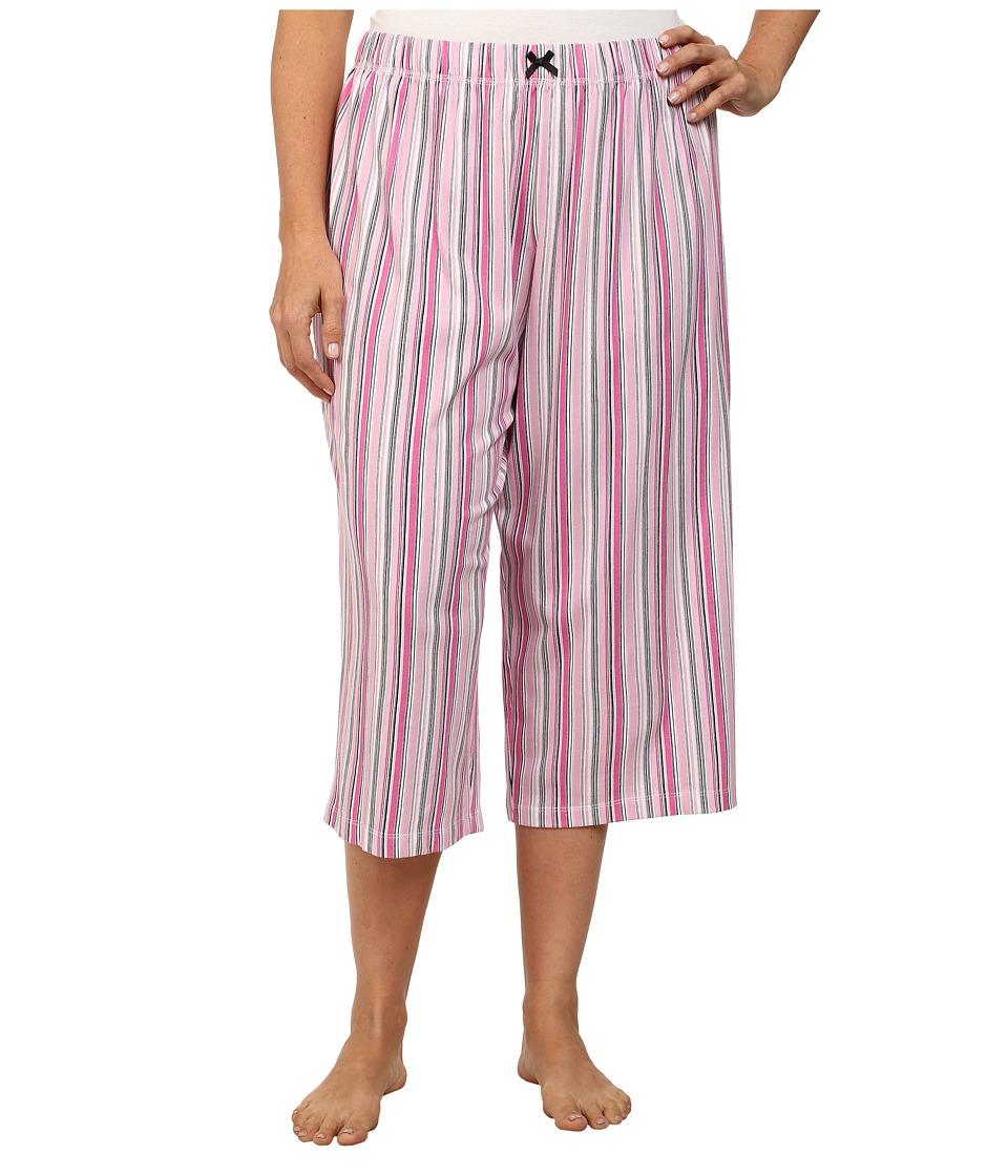 Karen Neuburger - Plus Size Le Boulevard Stripe Crop Pants (Pink) Women's Pajama