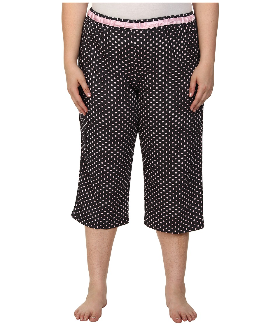 Karen Neuburger - Plus Size Le Boulevard Dot Crop Pants (Black) Women's Pajama plus size,  plus size fashion plus size appare