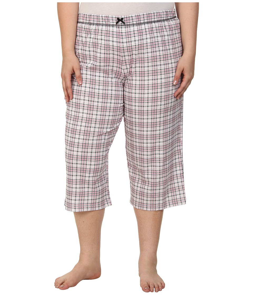 Karen Neuburger - Plus Size Le Boulevard Plaid Crop Pants (Black) Women's Pajama plus size,  plus size fashion plus size appare