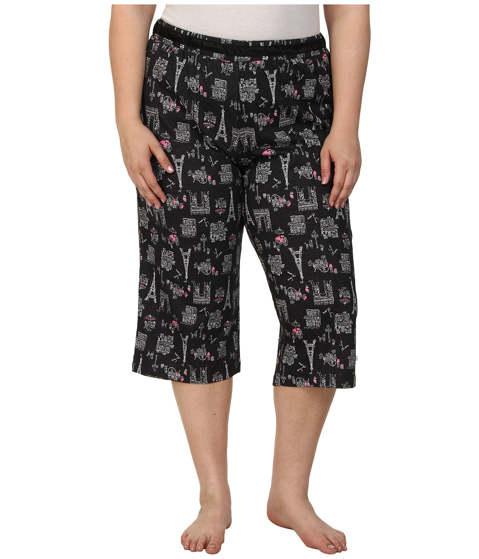 Karen Neuburger - Plus Size Le Boulevard Novelty Crop Pants (Black) Women's Pajama plus size,  plus size fashion plus size appare