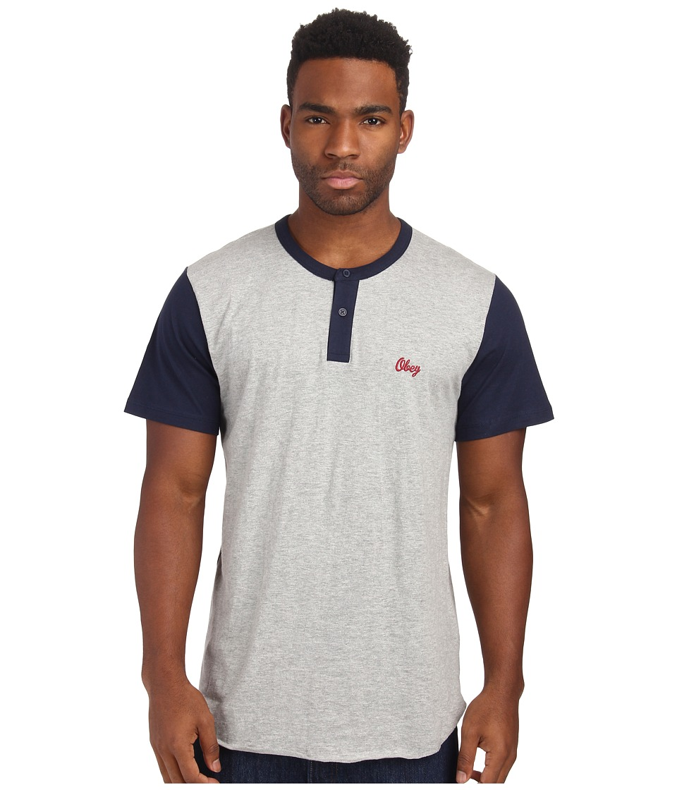 Obey - Cast Henley (Heather Grey/Dark Navy) Men's T Shirt