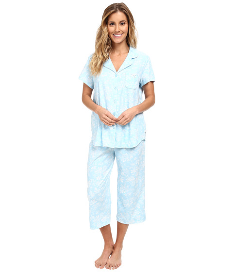 Karen Neuburger - Aqua Fresh Short Sleeve Girlfriend Crop PJ (Floral/Aqua) Women's Pajama Sets