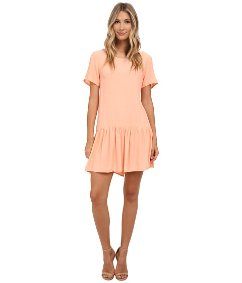 MINKPINK - Drop Waist Zip Back Tee Dress (Peach) Women