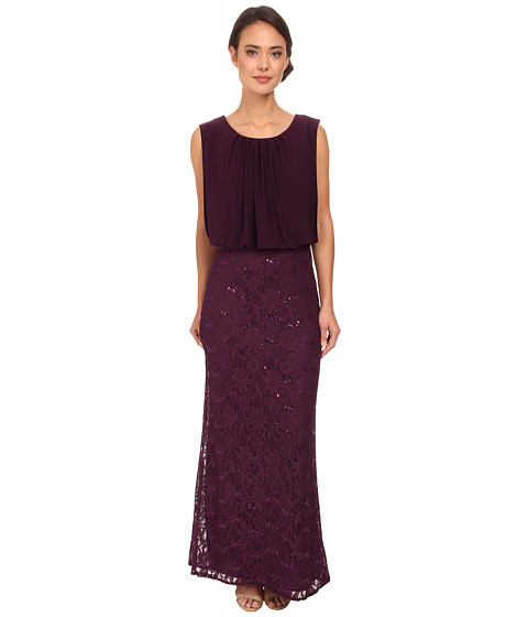 rsvp - Iris Sequin Bottom Long Dress (Plum) Women's Dress
