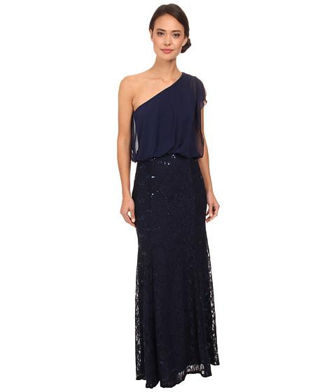 rsvp - Mabel One Shoulder Long Dress (Navy) Women's Dress