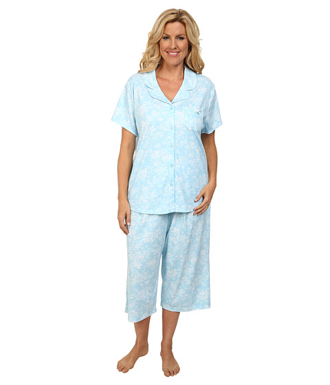 Karen Neuburger - Plus Size Aqua Fresh Short Sleeve Girlfriend Crop PJ (Floral/Aqua) Women's Pajama Sets