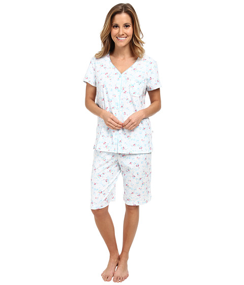 Karen Neuburger - Aqua Fresh Short Sleeve Cardigan Bermuda Set (Ditsy/Aqua) Women