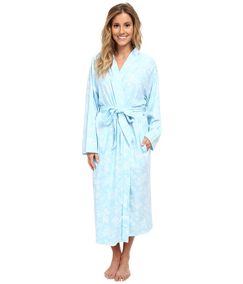 Karen Neuburger - Aqua Fresh Long Sleeve Kimono Long Robe (Floral/Aqua) Women