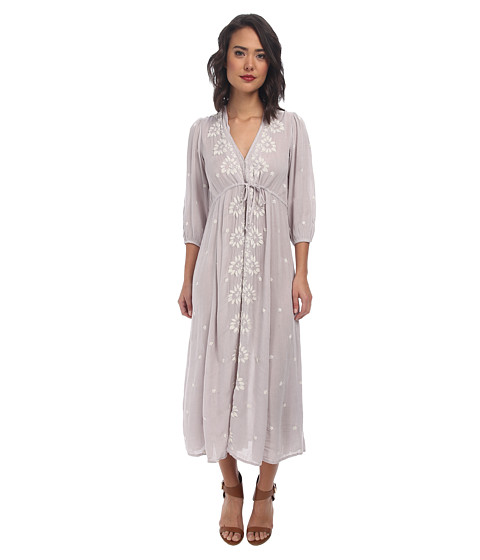Free People - Embroidered V Dress (Dove Grey Combo) Women's Dress