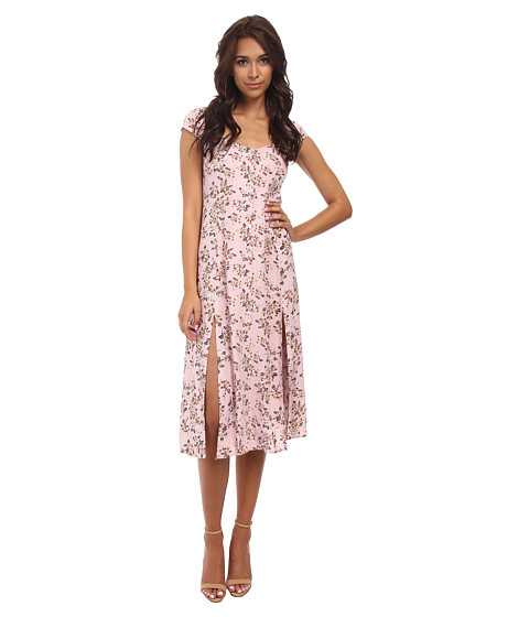 MINKPINK - Pink Floral Midi Dress (Multi) Women's Dress
