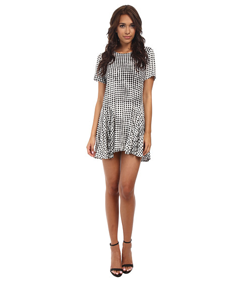MINKPINK - Gingham Godet Dress (Black) Women