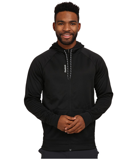 Reebok - Workout Ready Poly Full Zip Fleece (Black) Men's Fleece