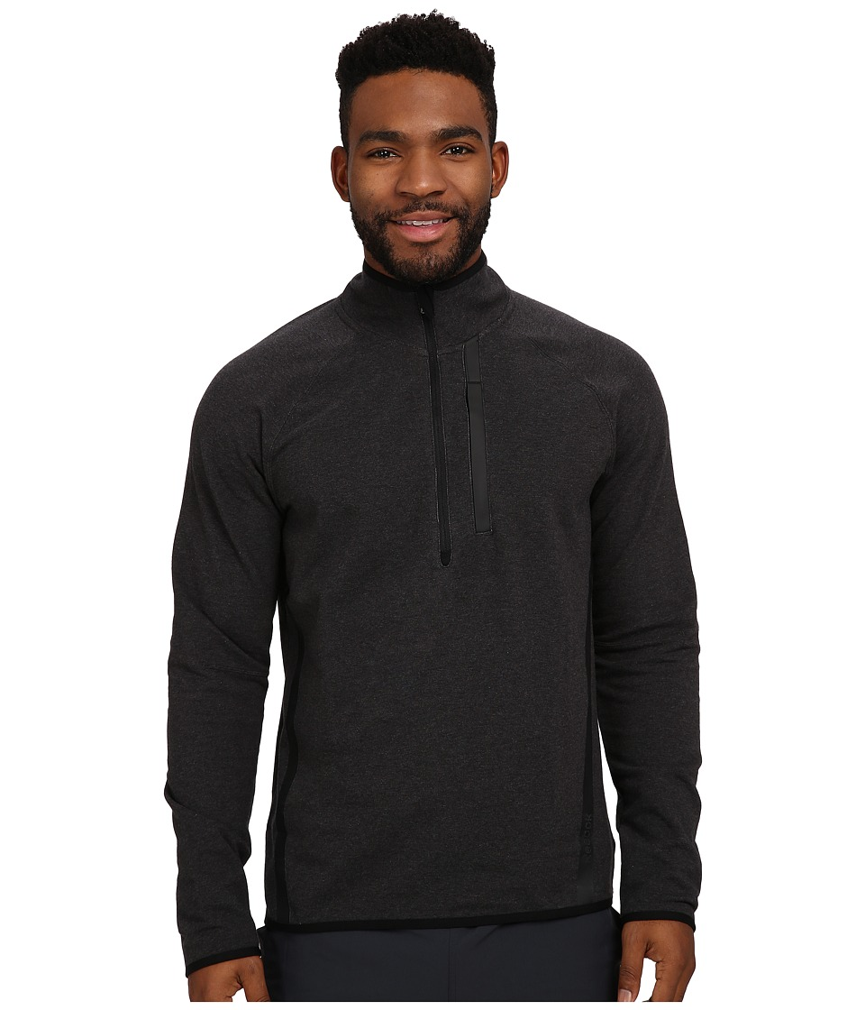 Reebok - Elements Cotton Tech 1/4 Zip (Black Melange) Men's Long Sleeve Pullover