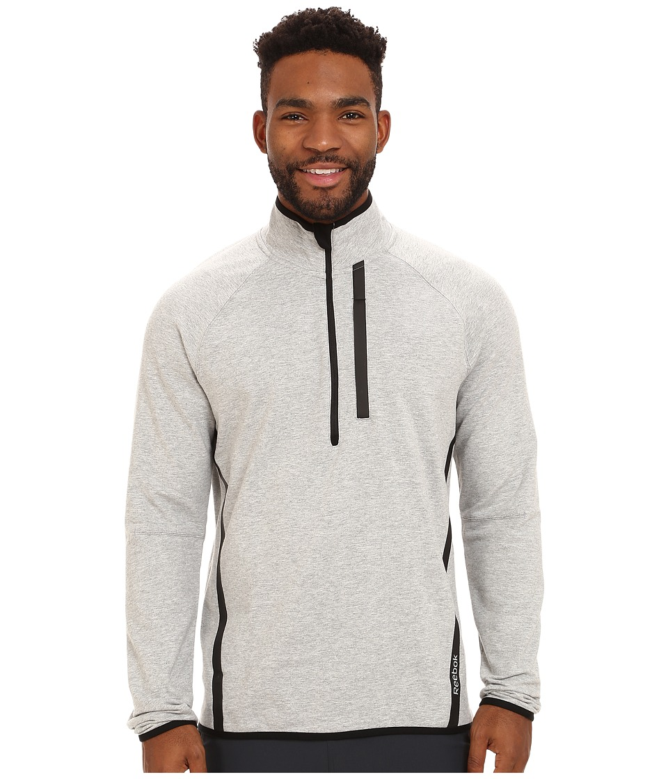 Reebok - Elements Cotton Tech 1/4 Zip (Medium Grey Heather) Men's Long Sleeve Pullover