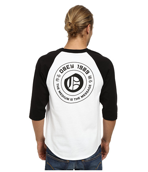 Obey - New English Raglan (White/Black) Men's Clothing