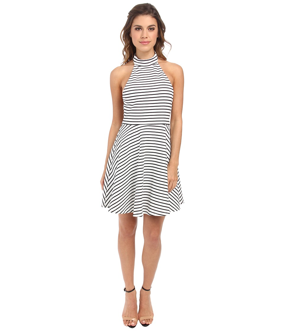 MINKPINK - Find Me Guilty Halter Dress (White/Black) Women's Dress