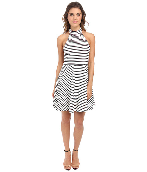 MINKPINK - Find Me Guilty Halter Dress (White/Black) Women