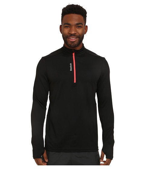 Reebok - Running Essentials Long Sleeve 1/4 Zip (Black/Neon Cherry) Men