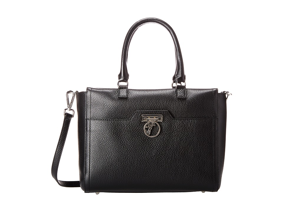 Versace Collection - Pebbled Leather Satchel (Black) Satchel Handbags