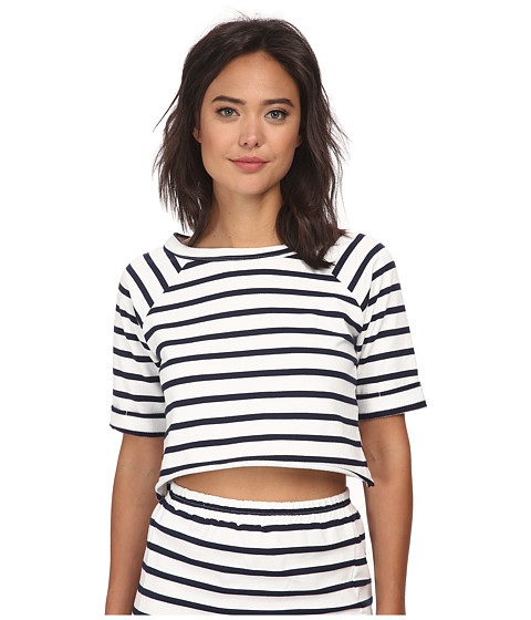 MINKPINK - Stripe Cropped Raw Edge Sweat (Navy/White) Women's Clothing