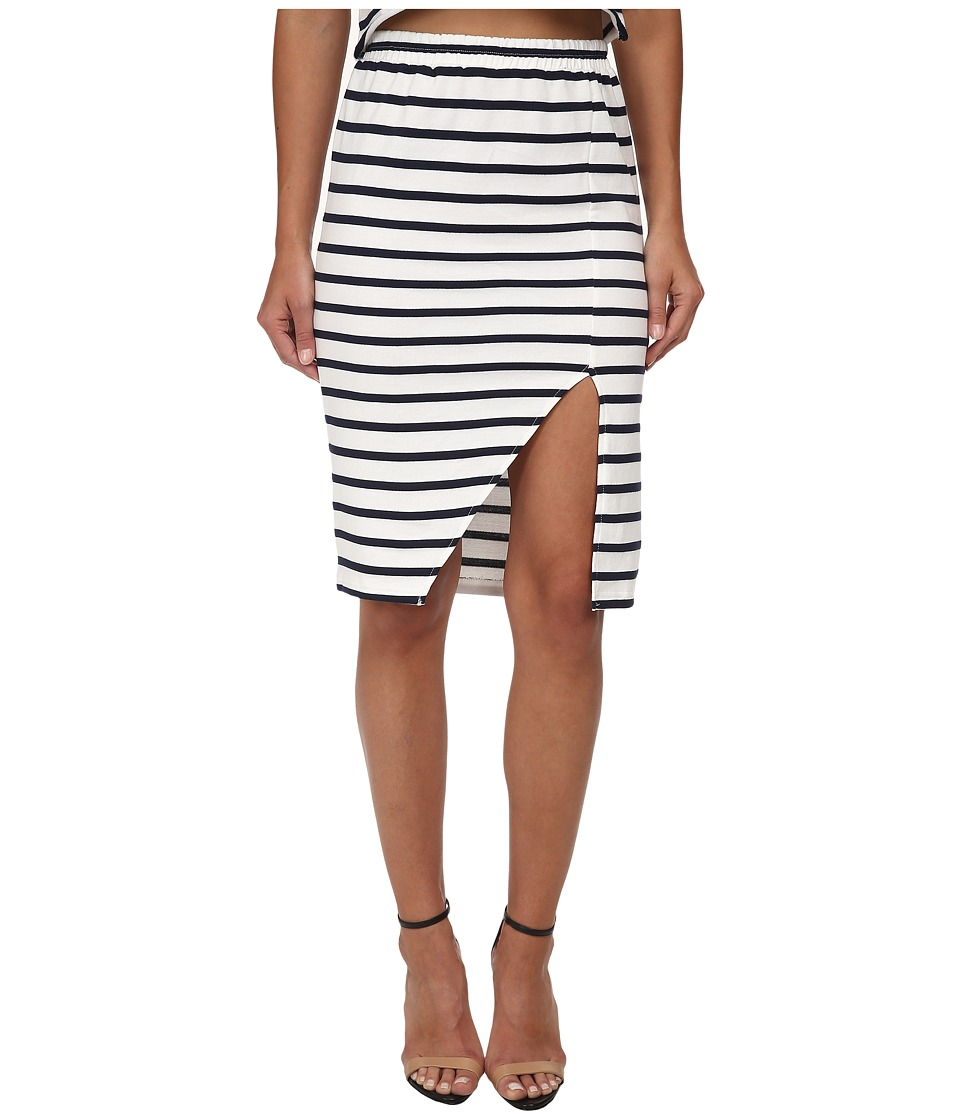 MINKPINK - Stripe Maxi Split Skirt (Navy/White) Women