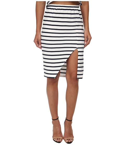 MINKPINK - Stripe Maxi Split Skirt (Navy/White) Women's Skirt