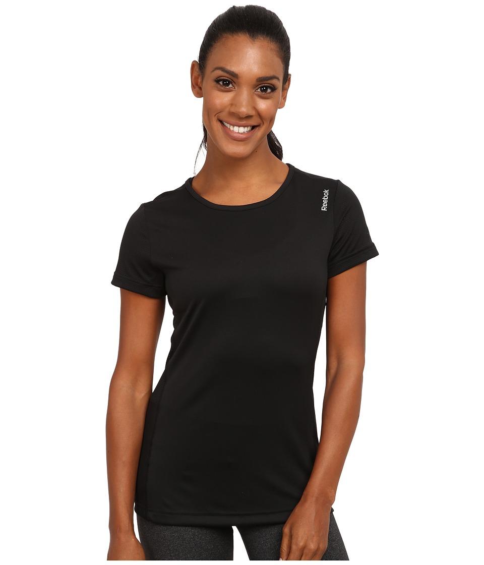 Reebok - Running Essentials Short Sleeve Tee (Black) Women's Sleeveless